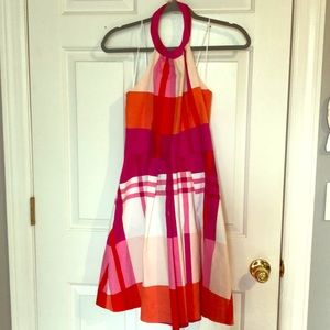 Cynthia Rowlett Pink-Orange Plaid halter dress